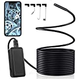 Wireless Endoscope, 5.5mm 1920P IP67 Waterproof WiFi Borescope Inspection 5.0 MP HD Snake Camera, 6 LED Lights, 16.5FT Semi-Rigid Cable, for Android, iOS Smartphone, iPhone, iPad, Samsung, Tablet