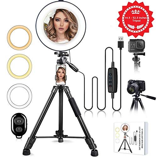 """10"""" Ring Light with Stand and Phone Holder, HQOON Upgraded LED Selfie Ringlight with 52"""" Extendable Tripod Stand for Makeup/Photography/Live Stream/Video Recording, Compatible with Phones and Cameras"""