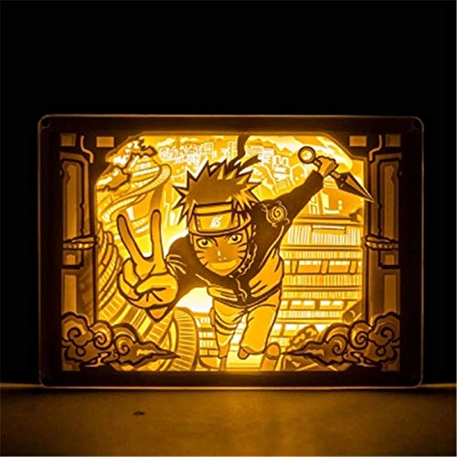 Leeslamp bedlampje tafellamp bureaulamp tafellamp Uchiha Sasuke Uzumaki Light And Shadow Paper Carving Lamp Action Figure Cartoon Light X2745 Button Switch