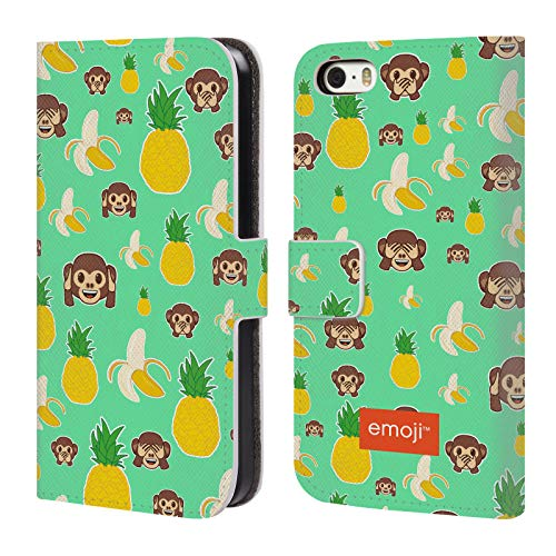 Head Case Designs Oficial Emoji Mono de piña plátano Patrones 5 Carcasa de Cuero Tipo Libro Compatible con Apple iPhone 5 / iPhone 5s / iPhone SE 2016