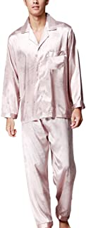 Zhhlinyuan 良質 Two pieces Home Clothing ナイトウェア Classic Mens Long Sleeve Silk Pyjama Set