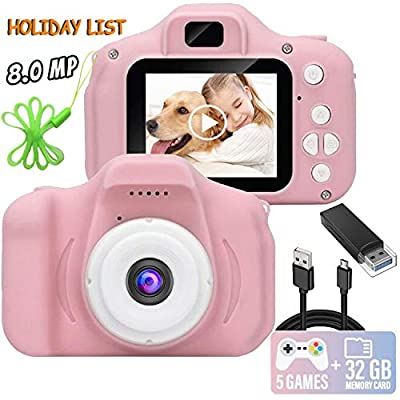Kids Camera, 8.0 MP FHD Digital Video Recorder Shockproof Action Cameras with 2 Inch IPS Screen and 32GB SD Card for Girls Boys Gifts Pink