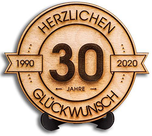 DARO Design - Holzscheibe graviert - 30 Jahre - Größe 20cm- Geschenk zum Jubiläum, 30 Geburtstag, Jahrestag - Herzlichen Glückwunsch