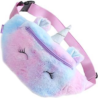 KESYOO Unicorn Waist Bag Plush Belt Bag Chest Bag Small Shoulder Bag Cute Bum Bag for Kids Girls Cute Fanny Pack Violet