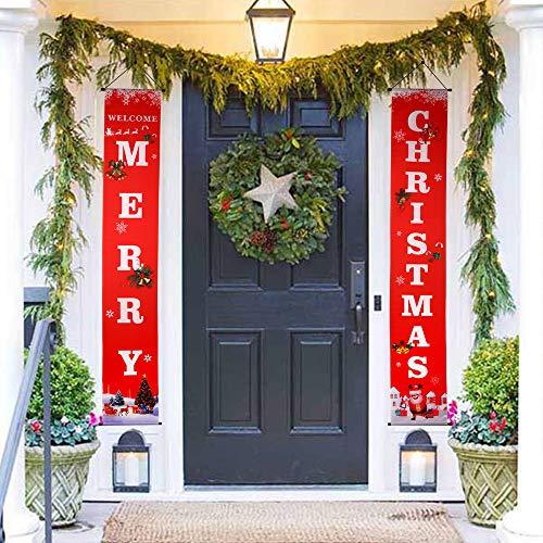 GeeRic Decoración navideña, Bandera navideña Decoración navideña Entrada de la Puerta Navidad 2019 Decoraciones para la Tienda Pantalla Ventana Ventana Pared Chimenea Exterior e Interior -Rojo