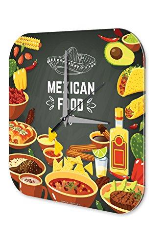 LEotiE SINCE 2004 Wanduhr mit geräuschlosem Uhrwerk Dekouhr Küchenuhr Baduhr Nostalgie Fun Deko mexikanisches Essen Acryl Wand Uhr