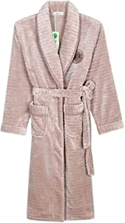YONGYONG カップルパジャマフランネル秋と冬ソリッドカラー厚い長い暖かいパジャマ
