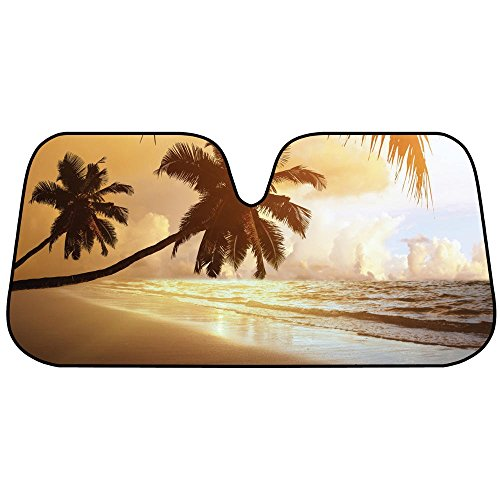 Price comparison product image BDK Golden Palm Tree Beach Sunset Front Windshield Sun Shade - Accordion Folding Auto Sunshade for Car Truck SUV - Blocks UV Rays Sun Visor Protector - Keeps Your Vehicle Cool - 58 x 28 Inch