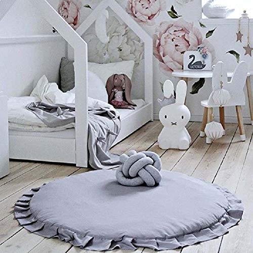 Homieco tappetino rotondo Dolce Bambino Tappetino per bambini Tappeto a colori Cartoon Morbido e confortevole da gioco Tappetino per neonati, grigio scuro