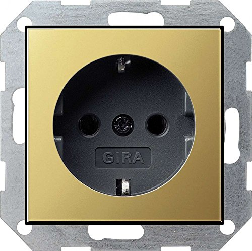 "Gira 0188604 Schuko-Steckdose System 55\"", Schwarz, Messing"