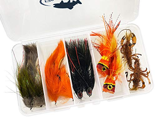 RiverBum Bass Fly Fishing Flies Assortment Kit with Fly Box, Skully Buggers, Bunny Leech, Poppers, Mr Creepo Flies for Fly Fishing - 10 Piece