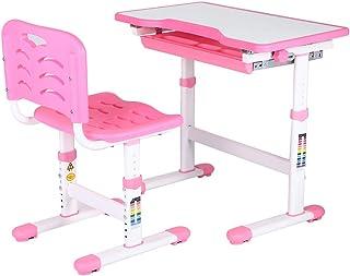 Wakects Bureau pour enfants, set de table et chaise pour enfants, réglable en hauteur, plateau inclinable réglable, bureau...