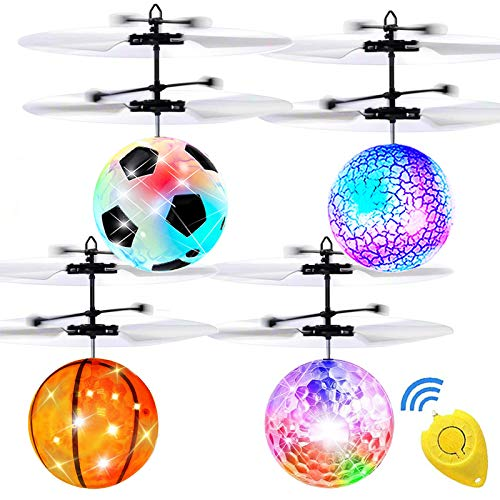 AMENON 4 Pack Flying Ball Toys, RC Toys for Kids Boys Girls Age 6 7 8 9 10 Year Old Light Up Ball Drone Infrared Induction Rechargeable Helicopter for Indoor and Outdoor Games Christmas Gifts