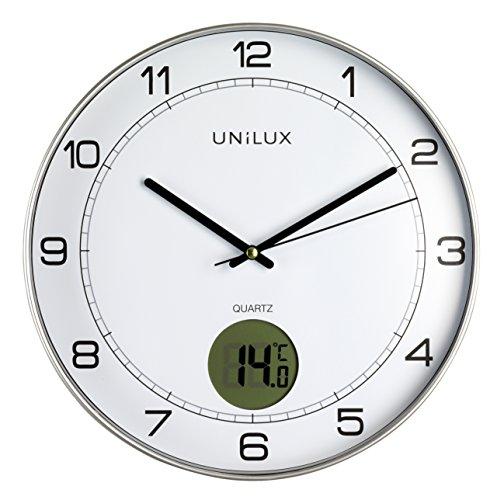 UNILUX 400094592 Tempus niet-tikkende stille wandklok 2 in 1 met digitaal display voor temperatuur grijs met thermometer 30 cm LCD graad Celsius, analoge klok voor woonkamer keuken kantoor kinderkamer