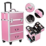 Simply-Me 3 in 1 Makeup Train Case Professional Cosmetic Cases Makeup Storage Organizer 4 Tier Aluminum Rolling Trolley Lockable Cosmetic Box with 6 Extendable Trays,Pink