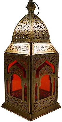 Guru-Shop Orientalische Messing/Glas Laterne in Marrokanischem Design, Windlicht, Orange, Farbe: Orange, 30x13x13 cm, Orientalische Laternen