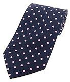 Soprano - Corbata de seda, diseño de lunares, color azul marino y rosa