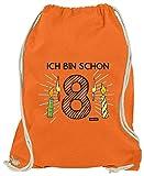 Hariz - Bolsa de deporte para 8 cumpleaños infantil, diseño de rayas, incluye tarjeta de regalo, naranja (Naranja) - AchterGeburtstag13-WM110-8-1