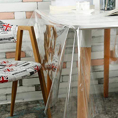 WUJIANCHAO PVC Tischdecken Transparente wasserdichte Abdeckung Anti öldichte runde Glastischdecke Home Kitchen Decoration Tischmatte 0,23 mm Tischdecken Clear Round 180cm
