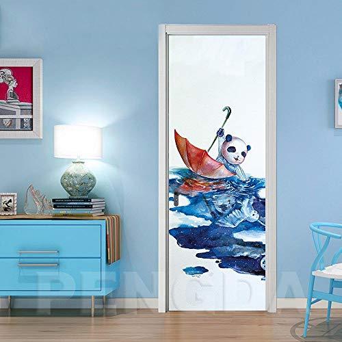 Deurfolie 3D Deurfolie Creatieve 3D Deurstickers Pvc Waterdichte Deurrenovatie Muurschildering Zelfklevend Bedrukt Paraplu Foto Diy Woondecoratie Decal-77X200Cm