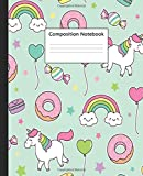 Composition Notebook: Wide Ruled Paper Notebook Journal | Nifty Wide Blank Lined Workbook for Teens Kids Students Girls for Home School College for ... | Cute Turquoise Unicorn & Donut Pattern
