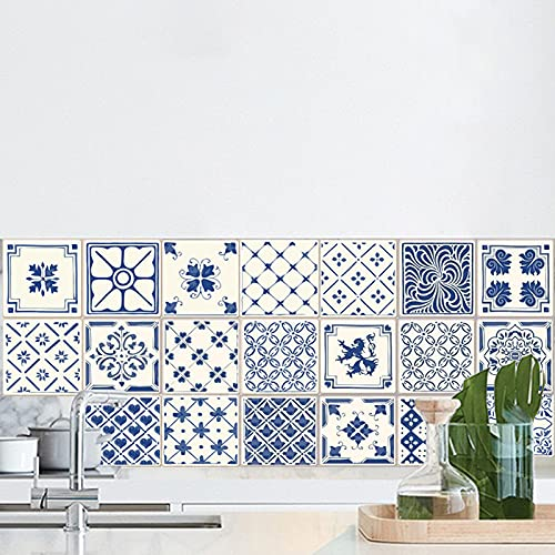 20 Pezzi Adesivi per Piastrelle,15×15 Adesivi per piastrelle in stile europeo,Impermeabile PVC Autoadesivo Decorazione,Adesivi per piastrelle da cucina bagno Decorazioni per la casa fai-da-te