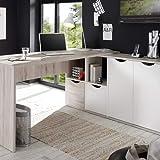 Stella Trading Eckschreibtisch Winkelschreibtisch Schreibtisch in Weiß, Absetzung in Sandeiche Nachbildung, BxHxT 160x145x