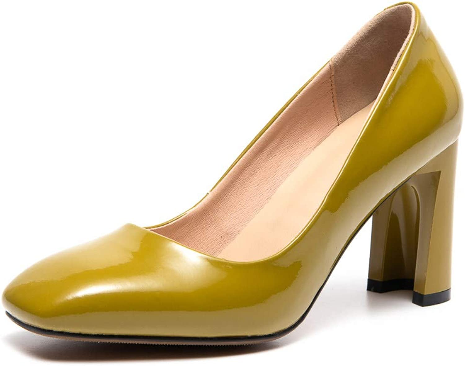 Nine Seven Women's Patent Leather Closed Square Toe High Chunky Heel Handmade Casual Comfort Slip On Pump shoes