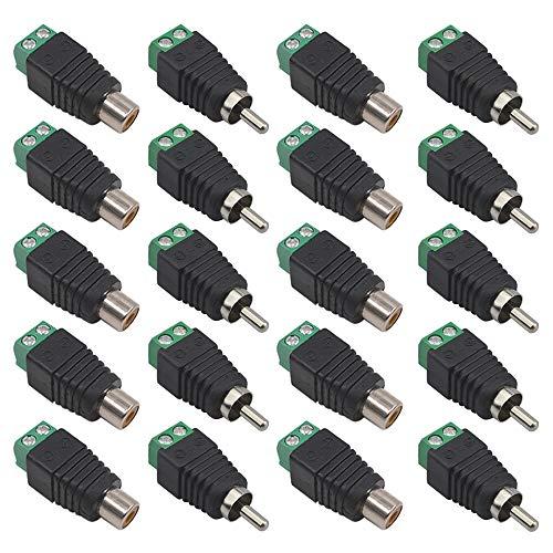 FULARR® 20Pcs Professionale RCA Connettore Kit, 10 Paia RCA Maschio Spina & Femmina Presa, 2Pin AV Vite Terminale Audio Video Connettore Adattatore, per CCTV Sistema Sicurezza