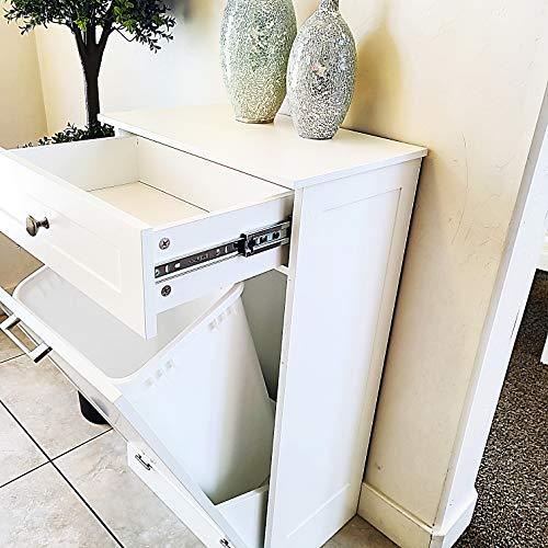 Tilt Out Trash Bin Cabinet by Northwood Calliger, Wooden Trash Can Bin for Kitchen or Tilt Out Laundry Hamper, Recycling Cabinet with Drawer