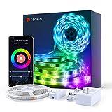 Tiras LED RGB TECKIN Wifi 5M 5050 SMD Tira de Luces Colores Inteligente funciona con Alexa Móvil Google Home,Multi-Modos para Navidad,TV,Dormitorio,Fiesta y Decoración