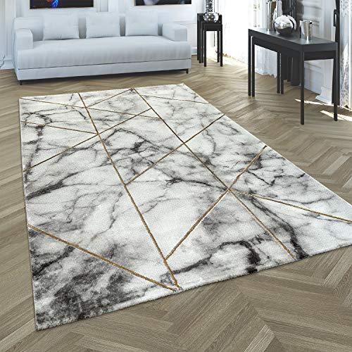 Paco Home Tapis de Salon Marbre Or Gris Motif 3D Tapis à Poils Courts Douce et Robuste, Dimension:80x150 cm
