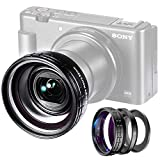 ✔2 in 1 Creative Additional Lens Set for Sony ZV-1 --- Customized lens attachment for Sony ZV-1 Compact Vlog Camera; with Adhesive Backed ring, universal 52mm ring, also you can add additional 52mm ND filter or other lens accessories. When you need W...