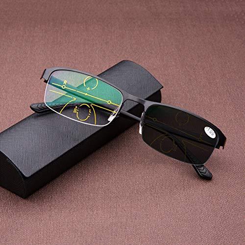 Herren-Lesebrille Classic mit ultraleichtem Halbrand-Metallrahmen, photochromen Brillen, multifokalen Dioptrien-Gleitsichtgläsern, Sonnenbrillen für den Innen- und Außenbereich, Comfort Readers