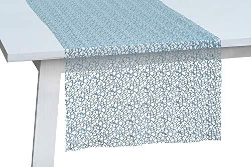 Pichler: dekorativer Tischläufer Network in Netzoptik, Denim, 45x140