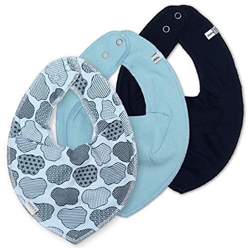 Pippi - Juego de 4 pañuelos para el cuello, 3 pañuelos lisos, 1 pañuelo Minymo estampado (nubes pequeñas)