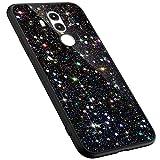 MoreChioce Compatibile con Custodia Huawei Mate 10 PRO Silicone,Glitter Diamond Nero TPU Silicone Cover AntiGraffio Protettive Bumper Case Glitter Cute Phone Case Girls,Star#03