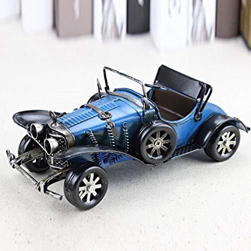 HKDJ Handgemachtes Retro Eisenblech Automodell,Simulations Miniaturspielzeug Geschenke Für Männer,Großes Geschenk Ornament Für EIN Regal Oder Einen Schreibtisch,22 * 10 * 9,5CM,Blau