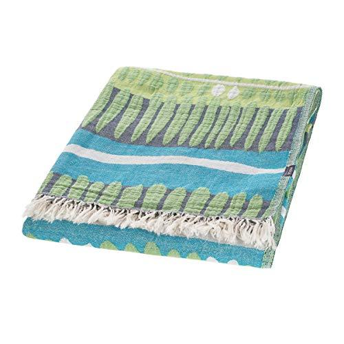Proflax Plaid Limbo, Größe 150x200 cm, Plaid mit Franzen, 100% Baumwolle, Farbe Lagune
