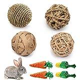 8PCS Juguetes para Masticar Conejos, Juguete Dientes de Molienda para Conejos,Natural bola de hierba,Pequeños Animales Juguetes para Masticar,para Conejos, Chinchillas, Hámsters, Cobayas