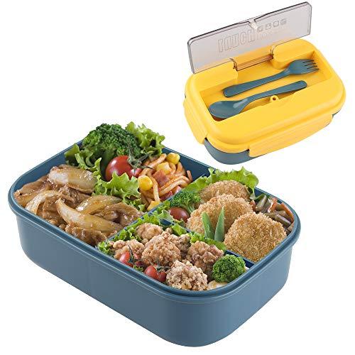 Porta Pranzo, Lunch Box Bento Box con Scomparti Bambini, Porta Pranzo Contenitori per Microonde Lunch Box Bambini Contenitori per Il Pranzo dei BambiniIdeale per Adulto (Yellow Blue)