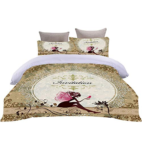 Bbaodan Duvet Cover Double Bed Flower Fairy Textured Microfibre Duvet Cover And Pillowcase With Zipper Closure Easy Care Machine Washable / 78.7 X 78.7 Inch