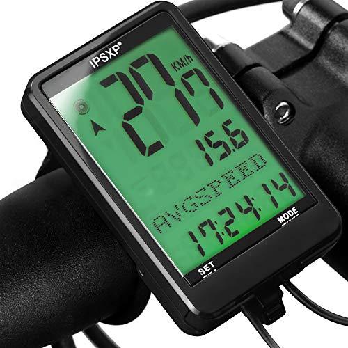 IPSXP Fahrradcomputer 18 Funktionen wasserdichte LCD Geschwindigkeit Fahrradtacho Radcomputer Tacho,Verdrahtet Fahrradtacho, Geeignet für alle Fahrradtypen