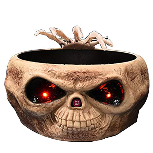 YAB Plato de Fruta de Mano Fantasma de inducción de Control de Prensa de Halloween, tazón de azúcar Juguete eléctrico Adornos emisores de luz de Calavera