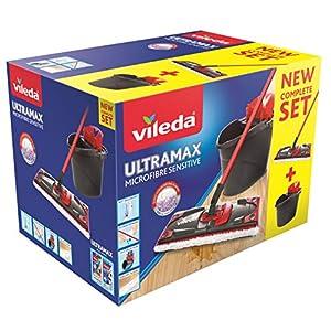 Vileda - UltraMax Sensitive Spécial Parquet - Kit complet Balai à Plat Microfibre + Seau-Essoreur