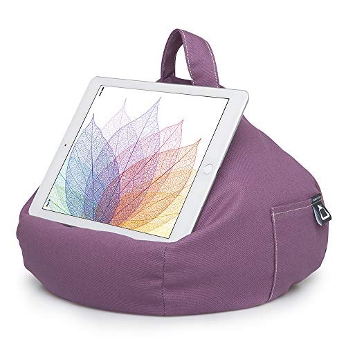 iBeani iPad Pillow & Tablet Cushion Stand - Securely holds any size tablet, eReader or book upto 12.9 inches, hands free comfort at any angle on any surface - Purple