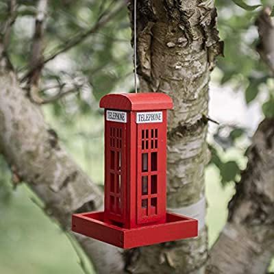 garden mile® Novelty Hanging Wild Bird Feeders for the Garden | Wooden Red phone Box Bird Feeding Station for Bird Seed and Peanuts | Cute Garden Decorations by Garden Mile®