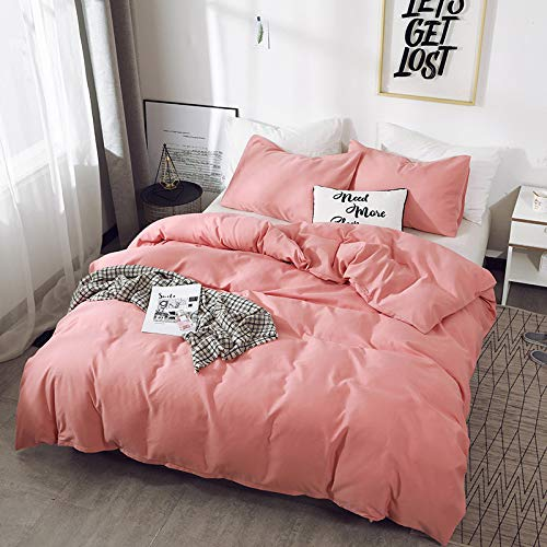 BH-JJSMGS Bedding and pillowcase, solid color microfiber duvet cover US-Queen: 228 * 228 bean sand color