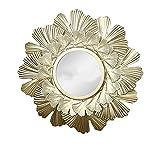 PINYUE Espejo de Pared con Marco Redondo Espejo Decorativo de Pared con Hoja de Oro Espejo de Pared para Sala de Estar, decoración del hogar y Dormitorio