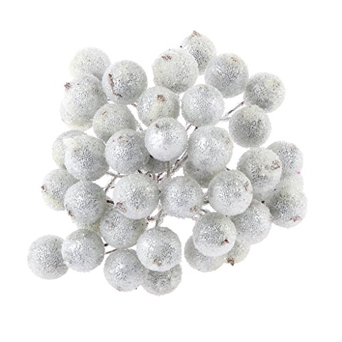 MagiDeal Pack of 200pcs Mini Christmas Frosted Fruit Berry Holly Artificial Flower Decor 14 Colors - Silver